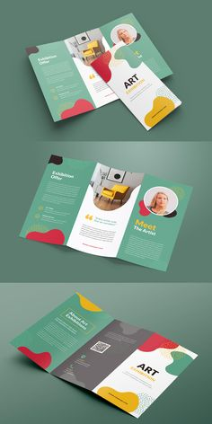 This is an Art Exhibition TriFold Brochure, elegant, modern, and professional corporate business brochure template. This Brochure Suitable for Art Exhibition. You will get the file in INDD and IDML InDesign format. It is fully editable, customizable, and easy to work with. Graphic Design Brochure, Brochure Layout, Graphic Design Posters, Creative Brochure Design, Brochure Trifold, Brochures, School Brochure, Business Brochure, Corporate Business
