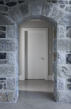 Door and trim and baseboards - Country House – Ireland - Hayburn & Co Cottage Design, House Design, Ireland Homes, House Ireland, Brick And Stone, Stone Walls, Transitional House, Co Design, Paving Stones