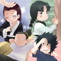 Nrji has his dad, Lee has Gai, Sasuke has Itachi, and Shikamaru has Asuma! Naruto Teams, Naruto Boys, Naruto Cute, Naruto Funny, Shikamaru, Naruto Shippuden Anime, Naruto And Sasuke, Hinata, Otaku Anime