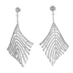 Diamond White Gold Feather Earrings | From a unique collection of vintage drop earrings at https://www.1stdibs.com/jewelry/earrings/drop-earrings/
