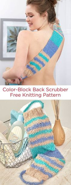 Color-Block Back Scrubber Free Knitting Pattern in Red Heart Scrubby Cotton yarn -- The soft stimulating texture of the Scrubby Cotton yarn is just what's needed for washing in the shower. It's easy to keep this back scrubber fresh and clean with a machine wash.