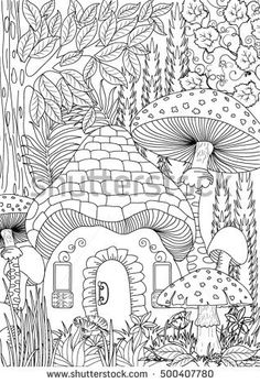 Landscape Coloring Books for Adults. 20 Landscape Coloring Books for Adults. Landscape Coloring Page Fairy Coloring Pages, Coloring Pages To Print, Coloring Sheets, Coloring Books, Free Adult Coloring, Printable Adult Coloring Pages, Colorful Drawings, Embroidery Patterns, Stock Photos