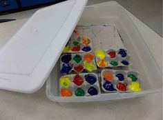 Store leftover paint in egg cartons in a plastic tupperware container.
