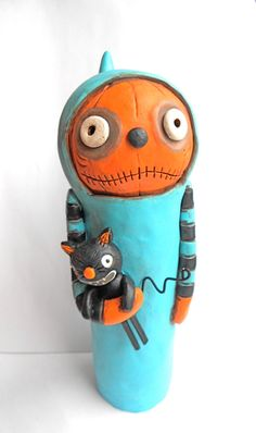 Halloween Hooded Ghoul with Black Cat Doll by indigotwinholiday, $60.00