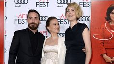 """Pablo Larraín, Portman y Gerwig ayer en la premiere de """"Jackie"""" (2016) en el AFI Fest"""