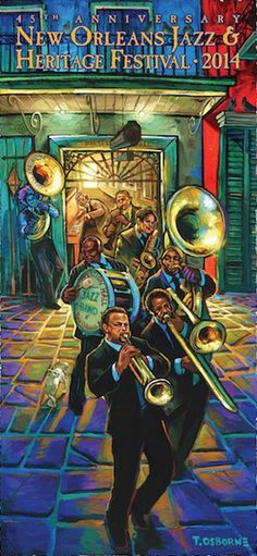 Colorful 2014 New Orleans Jazz Festival Poster. Aural History: Preservation Hall & The Preservation Hall Jazz Band By Terrance Osborne Traditional New Orleans jazz is over 100 years old. Jazz Festival, Festival Posters, Concert Posters, Jazz Concert, New Orleans Jazz, Nova Orleans, Jazz Poster, Preservation Hall Jazz Band, Gravure Illustration