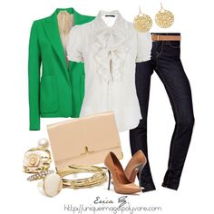 Friday Casual- white ruffled button up with blazer. Love this classic look!