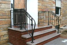 Blue stone, wrought iron with copper finishes.