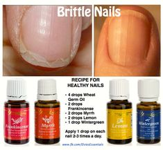 Brittle Nails ~ Your fingernails are a window into your body's health. Here is a great Nail Strengthening Recipe: • 4 drops Wheat Germ Oil • 2 drops Frankincense • 2 drops Myrrh • 2 drops Lemon • 1 drop Wintergreen Apply 1 drop on each nail and rub into the nail and cuticle 2-3 times a day. Only use therapeutic grade essential oil. Supplements from Young LIving that nourish the nails are: Sulfurzyme, MegaCal, Mineral Essence and NingXia Red.: