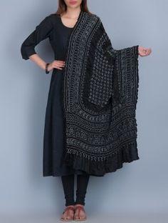 Black Bandhani Silk Dupatta by Neelgar