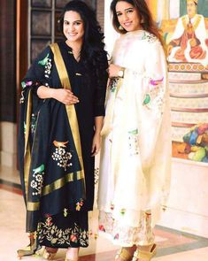 Elegant silk suit with organza painted work all over bottom top and dupatta Price👉🏻 inr. Indian Suits, Indian Attire, Indian Dresses, Indian Wear, Boutique Suits, Punjabi Salwar Suits, Indian Fashion, Fashion Fashion, Punjabi Fashion