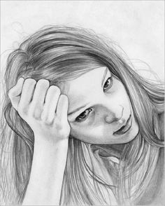 #drawing - a lot of portrait drawings  She actually looks like me when I get stressed by the homework. That if why I like the drawing.