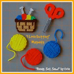 "Plastic Canvas: ""I Love Knitting"" Magnets (set of 5 -- yarn basket, scissors, 3 balls of yarn)"
