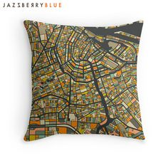 AMSTERDAM MAP THROW PILLOW for your home decor. Printed on both sides of a soft & durable, polyester poplin pillow cover with a concealed zipper. Melbourne Map, Amsterdam Map, Fine Art Prints, Framed Prints, City Maps, New Art, Pillow Covers, Photos, Throw Pillows