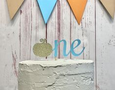 Little Pumpkin Cake Topper — Rings & Rattles 1st Birthday Banners, Birthday Cake Smash, First Birthday Cakes, Little Pumpkin Party, Baby In Pumpkin, Pumpkin 1st Birthdays, First Birthdays, Glitter Cake, Gold Glitter