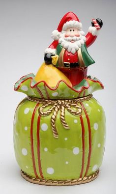 Appletree Design Wild Wonderful Winterland Collection Santa In The Bag Cookie Jar, ** Hurry! Check out this great product : Storage and Organization Christmas Cookie Jars, Christmas Dishes, Christmas Clay, Rustic Christmas, Christmas Gifts, Christmas Decorations, Christmas Tree, Glass Cookie Jars, Ceramic Cookie Jar