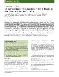 On the teaching of ecological restoration in Brazil: an analysis of postgraduate courses - Sansevero - 2017 - Restoration Ecology - Wiley Online Library