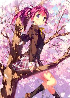 ✮ ANIME ART ✮ anime. . .school uniform. . .blazer. . .sakura. . .cherry blossom. . .tree. . . ponytail . . .cute. . .kawaii