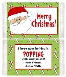 Personalized Christmas Holiday Santa Microwave Popcorn Label. A unique ...