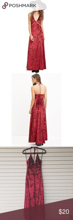 """F21 Crushed Velvet Maxi Dress Gorgeous crushed velvet maxi dress from Forever 21. Marked M and seems to run pretty true to size. Cut-out bust & halter ties so you can adjust length--I'm 5'6"""" & it hits me at the ankles. Would recommend for an A or B-cup. 👙 Dress looks a lot more burgundy in person. Has zipper on back (confirmed working). Sold out online--RTP $27.90. #f21 #trend #wine #new #cutout --- Measurements: approx 24"""" around for bust; 32"""" hips; 52.5"""" length (top of bustier area to…"""