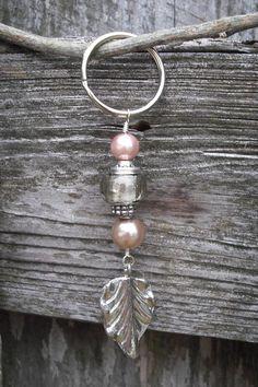 Beaded Key Chain with Leaf Charm. $8.00, via Etsy.