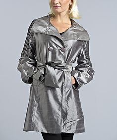 Take a look at the Silver Shimmer Silk-Blend Trench Coat on #zulily today!