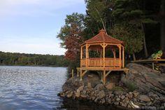 A spacious Monterey gazebo plan in Minden, Ontario offers a breathtaking beautiful 360 degree view. Raised Bed Garden Design, Gazebo Plans, Take A Seat, Building Plans, Ontario, Shed, Farmhouse, Cabin, How To Plan