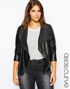 ASOS CURVE Leather Look Jacket With Waterfall Front
