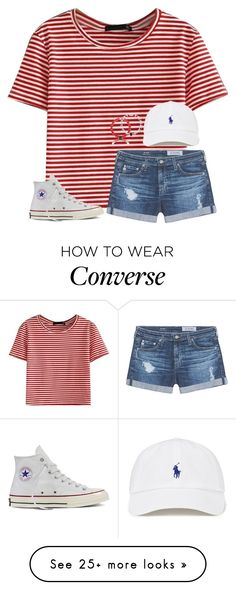 """WHAT TEAM?!? T-REBS!! WHAT TEAM?!? T-REBS!!!!❤️⚫️"" by mimichavi on Polyvore featuring WithChic, AG Adriano Goldschmied and Converse"