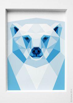 Polar bear portrait, Geometric print, Original illustration, Animal print, Minimal art, Nursery wall art