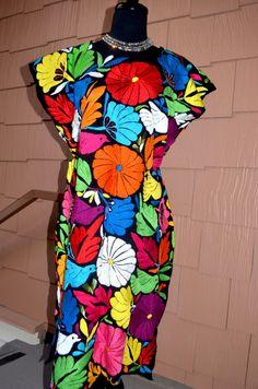 Vibrant Multicolor Mexican Hand Embroidered Dress / Huipil / by Vtgantiques, $240.00
