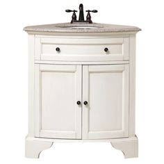 Corner vanity Home Decorators Collection Hamilton 31 in. W x 23 in. D Corner Vanity in Antique White with Granite Vanity Top in - The Home Depot Corner Bathroom Vanity, Corner Sink, Small Bathroom, Bathrooms, Bathroom Ideas, Bathroom Inspiration, Condo Bathroom, Bathroom Remodeling, Lilac Bathroom