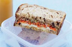 A healthy veggie sandwich idea featuring carrots and sprouts. For more creative ideas for kids lunches visit https://www.facebook.com/SchoolLunchIdeas you may find something you 'LIKE'