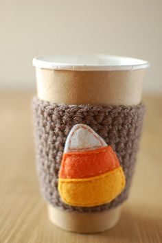 candy corn coffee cup cozy by The Cozy Project on Etsy