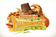 Happy Thanksgiving vector invitation. Vintage Design. $12.00