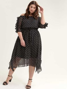 Off-the-Shoulder Ruffle-Sleeve Dot Dress - City Chic Addition Elle, City Chic, Dot Dress, Ruffle Sleeve, Passion For Fashion, Plus Size Dresses, Smocking, Off The Shoulder, Ruffles