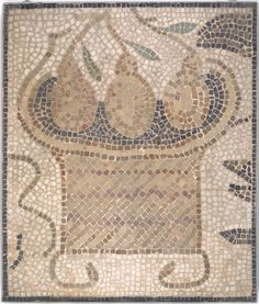Mosaic of Square Basket with Fruit, by an unknown Roman Artist found in Tunis, Tunisia, from the 3rd century-5th century A.D.  Mosaic  27 3/4 x 23 13/16in. (70.5 x 60.5cm).  From the Museum Collection Fund, Brooklyn Museum.