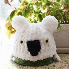 FREE LOOM KNITTING PATTERNS! LOOM KNIT WHITE KOALA BEAR HAT PATTERN AND MANY MORE on This Moment is Good!