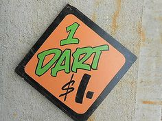 "Vintage Carnival Game Sign ""1 DART $1"" 2 Sided Hand Painted On Wood"