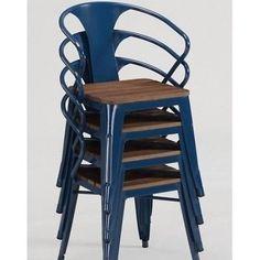 Stackable Chairs Blue Metal Industrial Vintage Retro 4 Set Indoor Outdoor Dining
