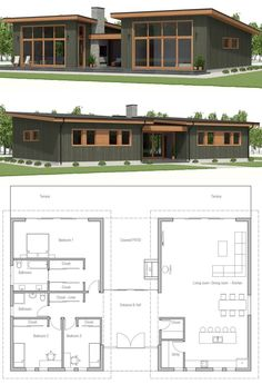 Small House Plan, Small home design - Home & DIY Sims House Plans, New House Plans, Dream House Plans, House Floor Plans, Small Modern House Plans, Small House Design, Modern Floor Plans, Modern Architecture House, Architecture Plan
