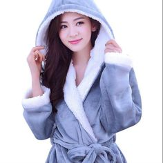 Autumn Winter Fleece Soft Bathrobe With Hood Ladies Robes Nightgown Home  Clothes Warm Bath Robe Dressing Gowns For Women Men 1ad67816f