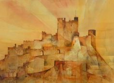 Bamburgh Castle by Malcolm Coils - watercolour on bockingford not paper Northumberland Coast, 2d Art, Watercolour Painting, Painting Inspiration, Artists, History, Newcastle, England, Posters