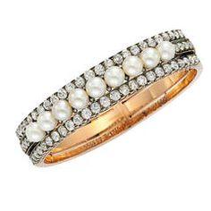 Emile Nattan Antique Natural Pearl Diamond Gold Bangle