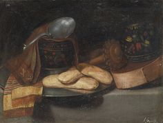 JUAN VAN DER HAMEN Y LEÓN MADRID 1596 - 1631 A CHOCOLATE SERVICE WITH A WOODEN BOX OF PACKED CHOCOLATE, TWO LACQUERED GOURD DRINKING BOWLS, A WOODEN MILK WHISK, NAPKINS, A SPOON AND PASTRIES ON A PEWTER PLATE