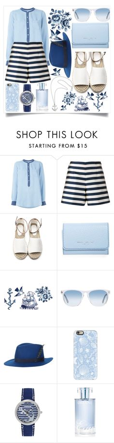 """""""Sea"""" by danchaa ❤ liked on Polyvore featuring Vince, Moncler, Marc Jacobs, Tattly, Oliver Peoples, House of Lafayette, Casetify, Sperry, Orlane and Karen Walker"""