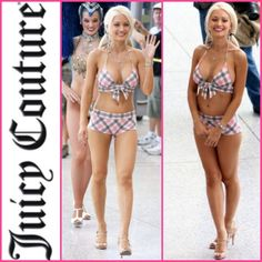 NWT Juicy Couture Veneto Plaid Spumoni Bikini SALE New! As seen on Holly Madison. Pink grey and white printed bikini. SALE PRICE IS FIRM. Juicy Couture Swim Bikinis