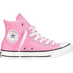 Converse Chuck Taylor All Star Hi Shoe ($30) ❤ liked on Polyvore featuring shoes, sneakers, converse, pink, pink sneakers, slim shoes, converse sneakers, star sneakers and converse footwear