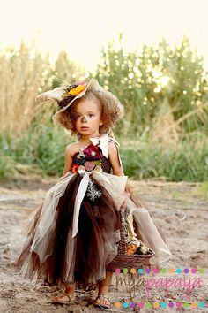 Scarecrow Tutu Dress Costume  12months5t  by MyaPapayaBoutique, $95.00