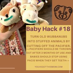 Does your little one love his Wubbanub but it's time to upgrade to a new one because they have started teething? Try these easy DIY ideas and tricks. Also, purchase some Phillips Avent Soothies for the crib. They are the same brand as the paci on the Wubbanub and are safer for when your eyes are off of baby.